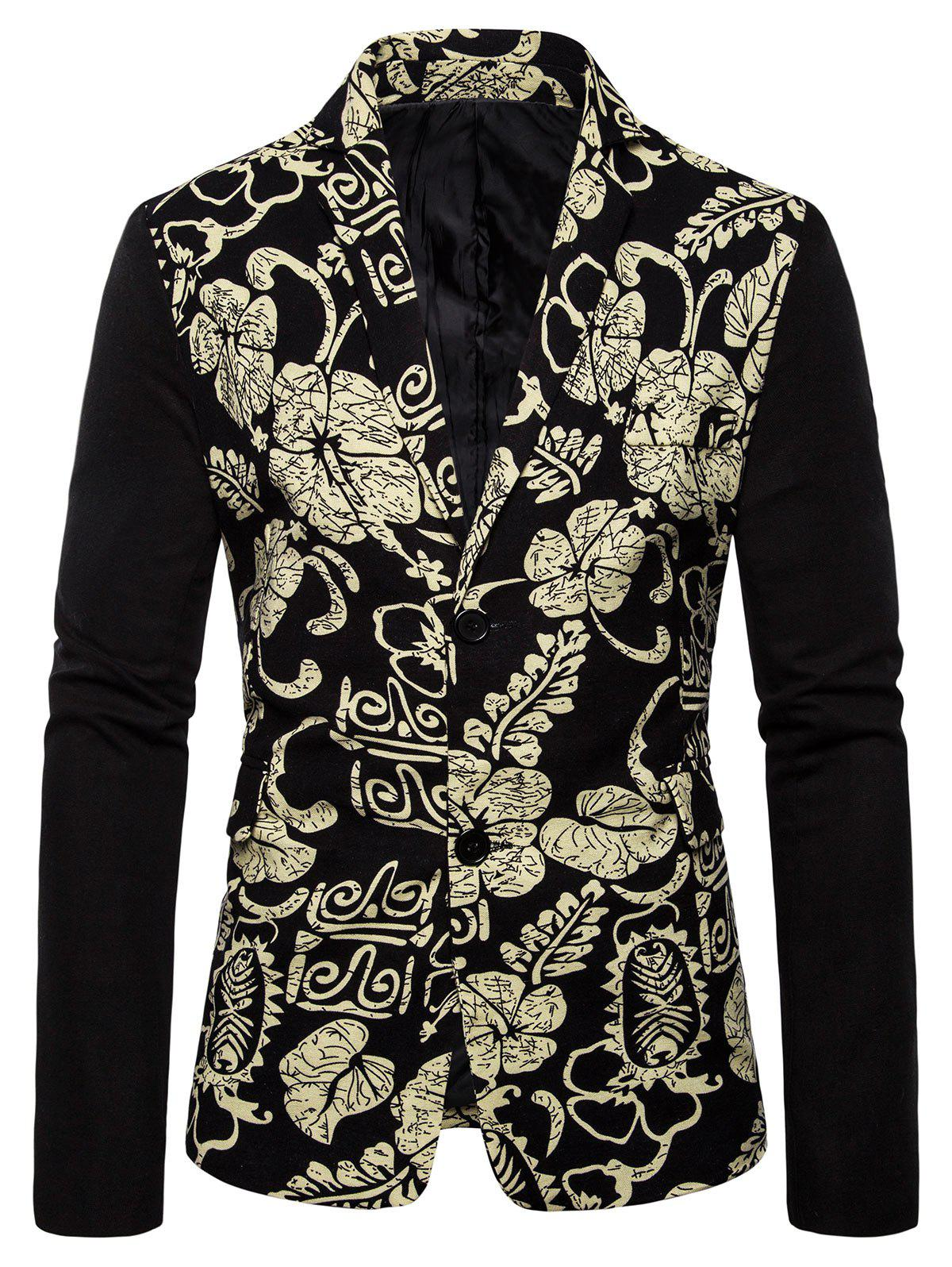 Tribal Flower Plant Print Color Block Splicing Blazer - BLACK 4XL