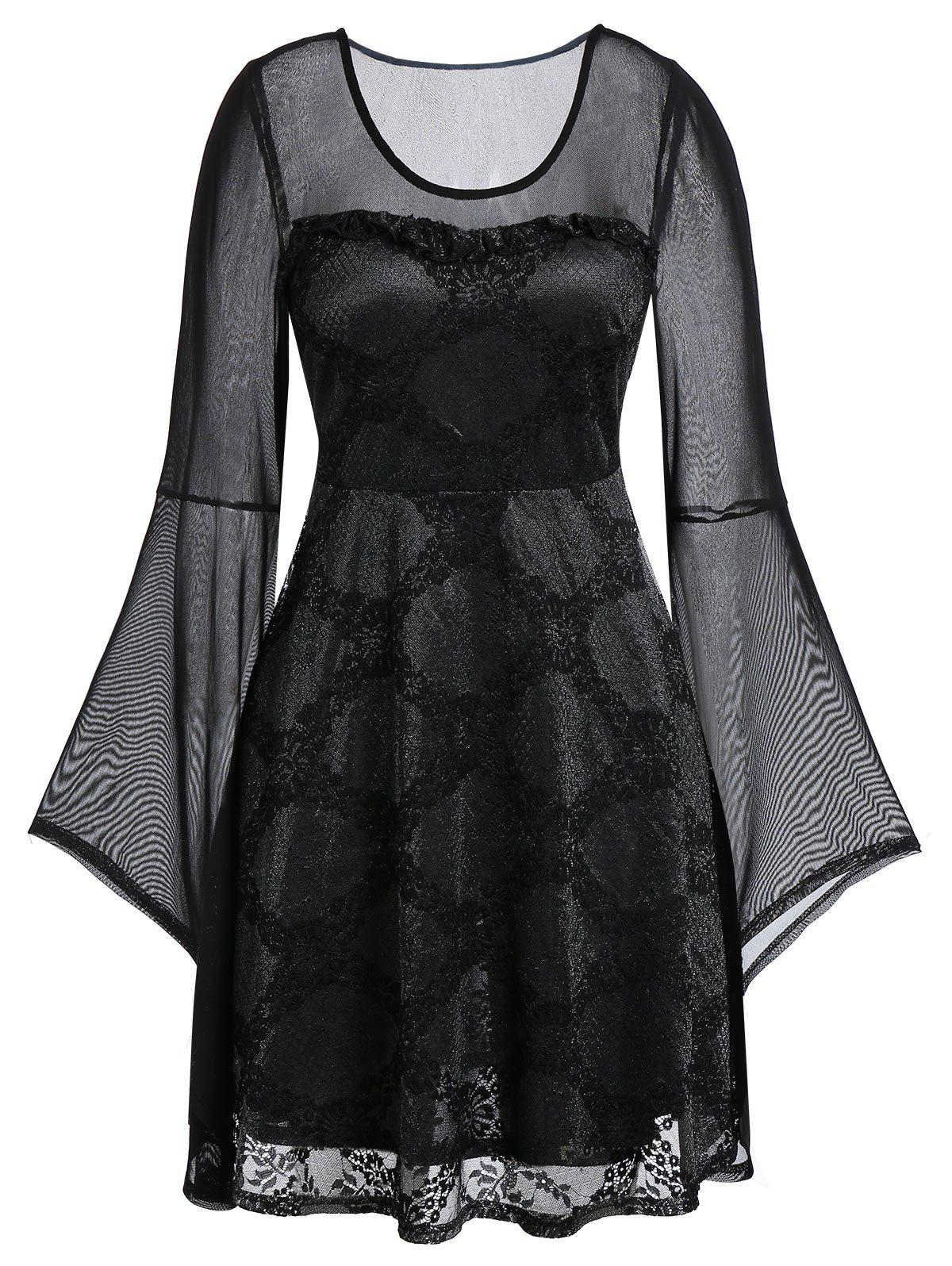 Plus Size Lace Mesh Sheer Bell Sleeve Dress - BLACK 1X