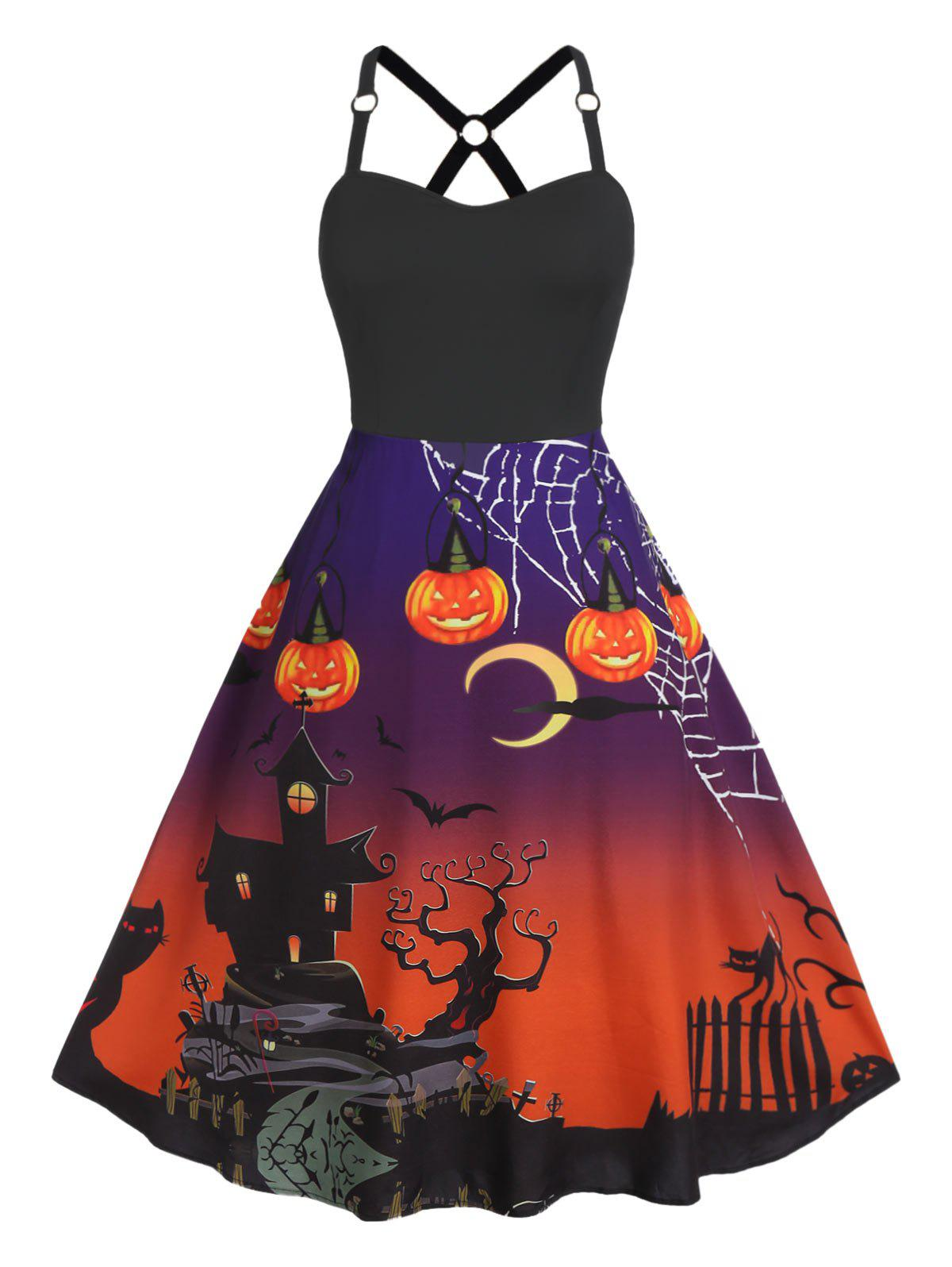 Plus Size Halloween Fit And Flare Printed Vintage Dress