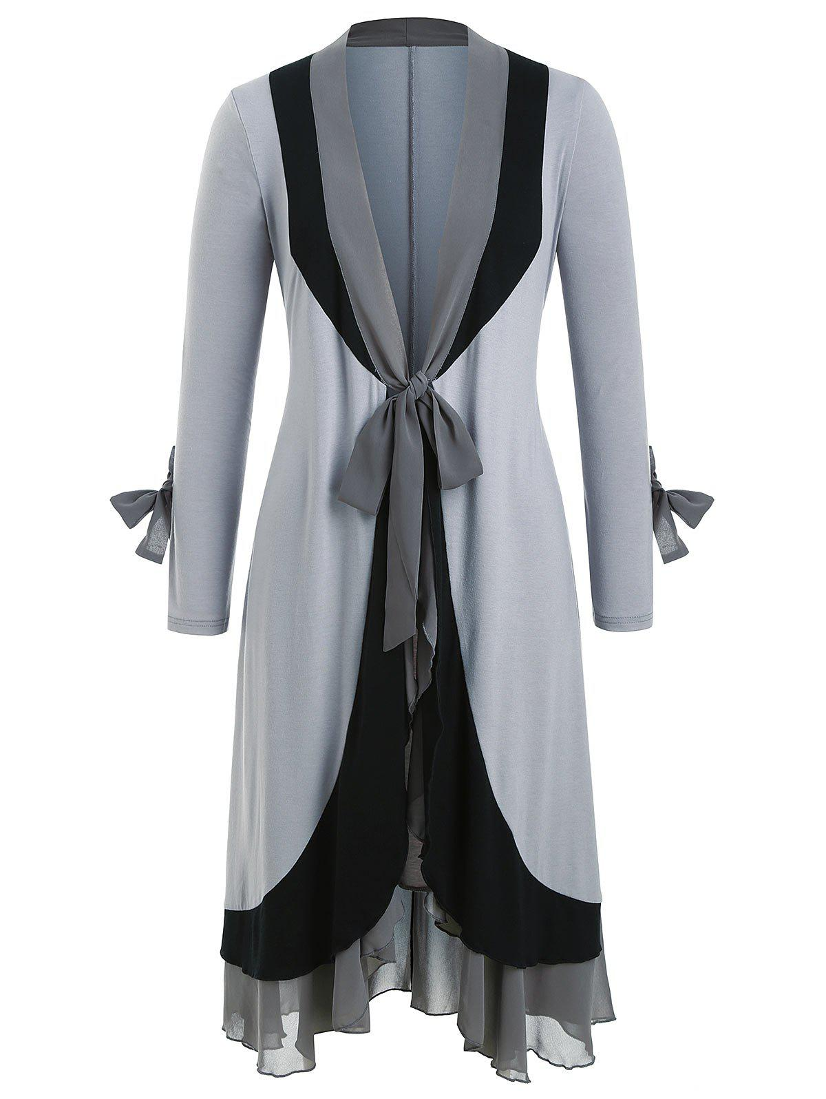 Knotted Chiffon Panel Flounces Plus Size Duster Coat - GRAY 3X