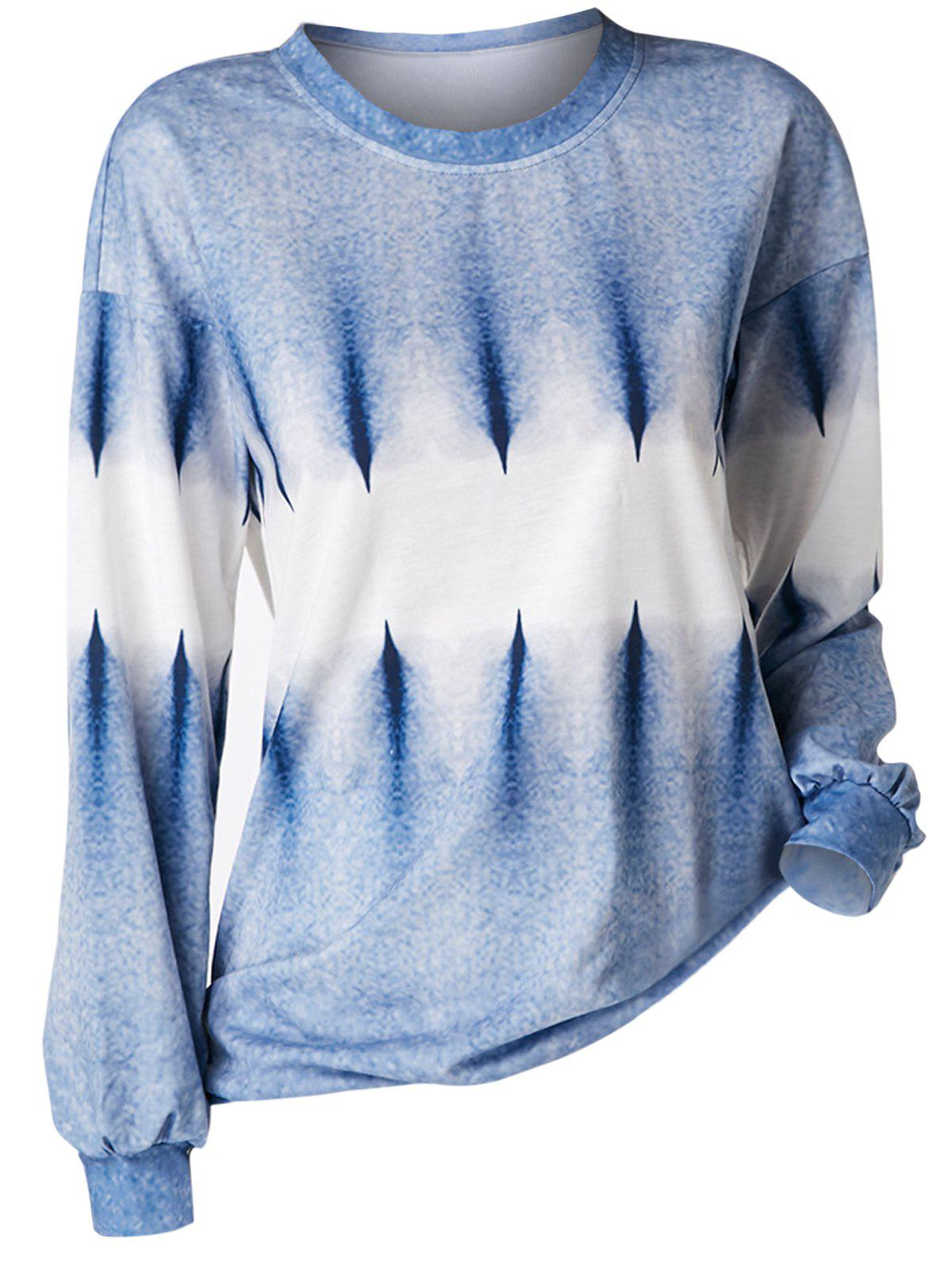 Plus Size Drop Shoulder Tie Dye Sweatshirt - DAY SKY BLUE 4X