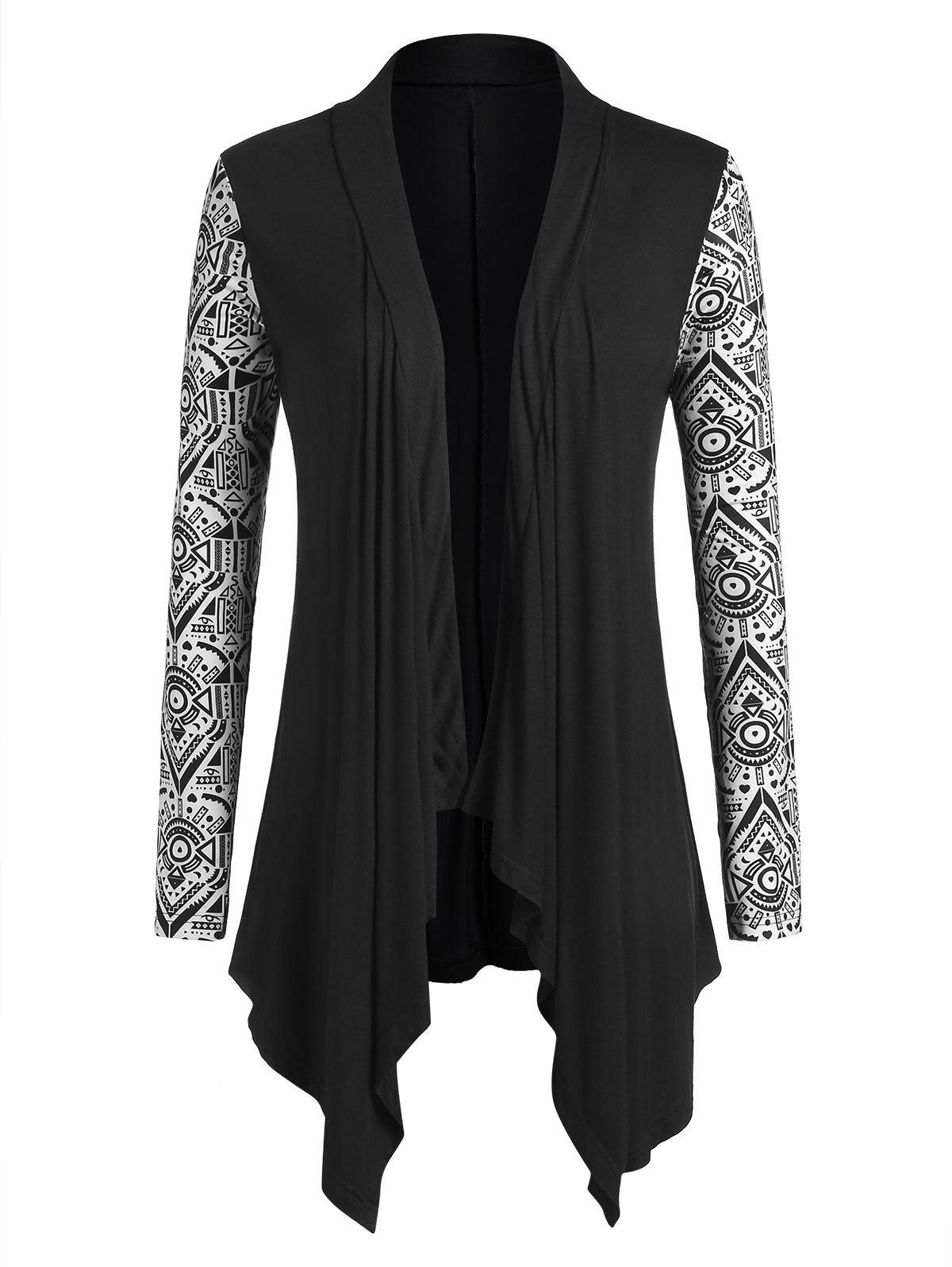 Plus Size Tribal Print Open Front Hanky Hem Cardigan - BLACK 2X
