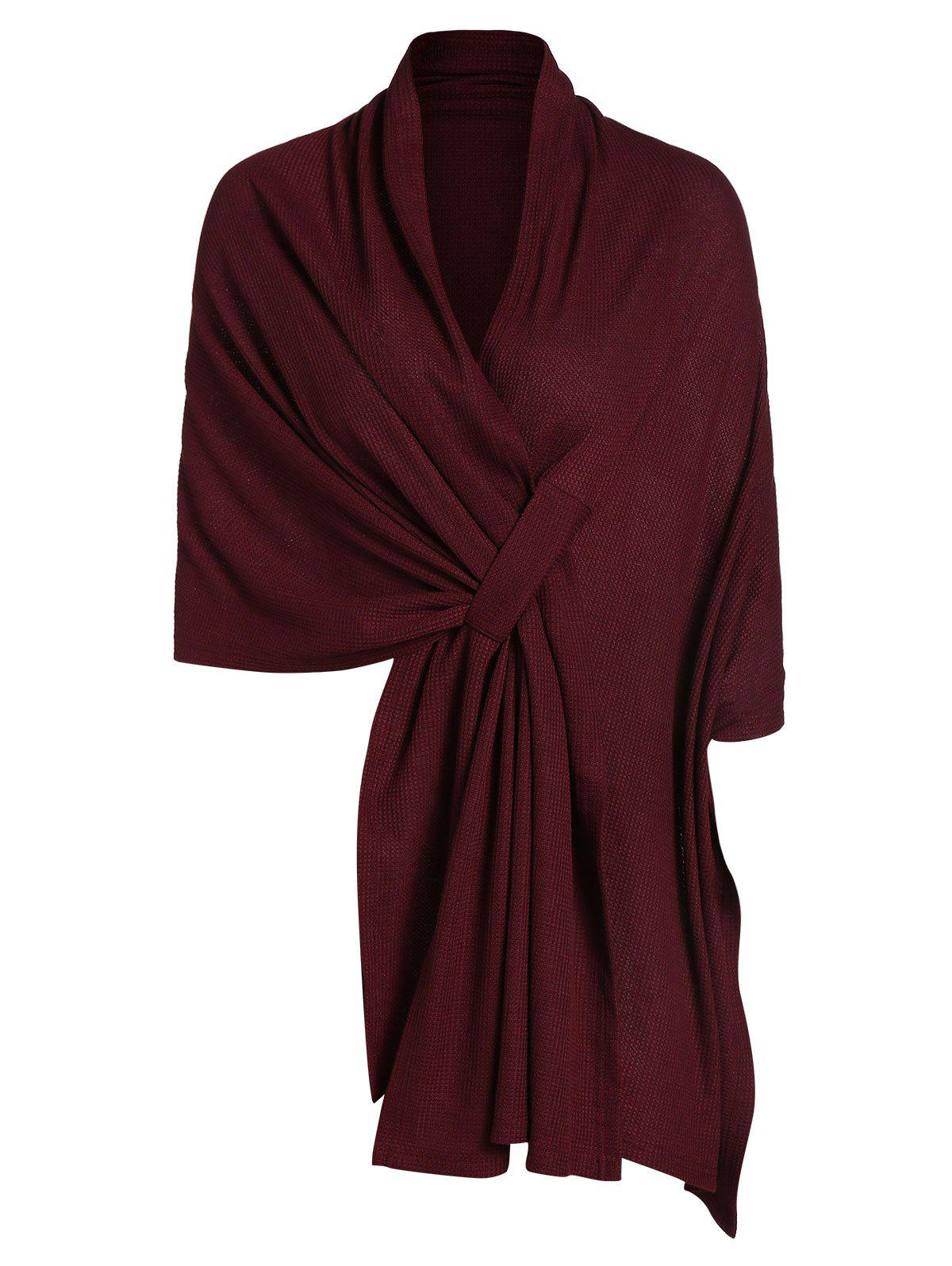 High Low Asymmetrical Knit Solid Cape - RED WINE XL