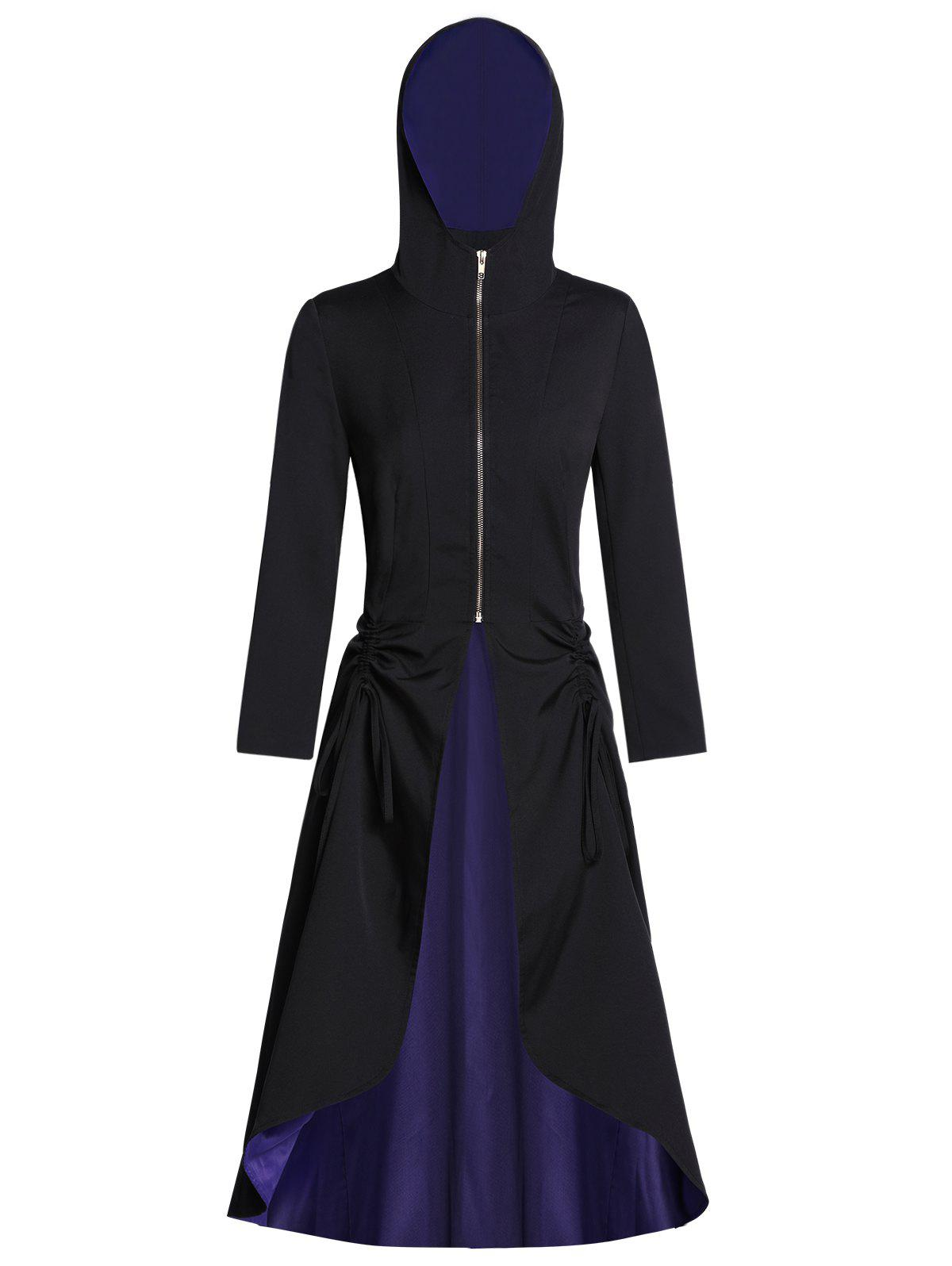 Hooded Zip Front Lace Up Two Tone Halloween Coat - BLACK L