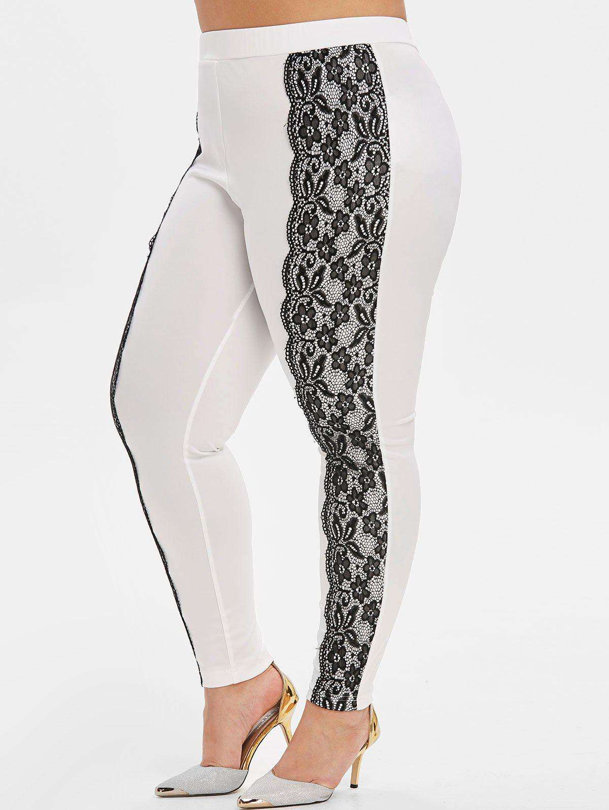 Plus Size Lace Panel Scalloped High Rise Skinny Pants - WHITE 2X