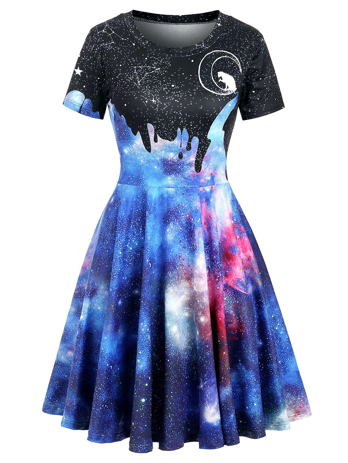 Cat Moon Galaxy Print Short Sleeve Dress - multicolor C XL