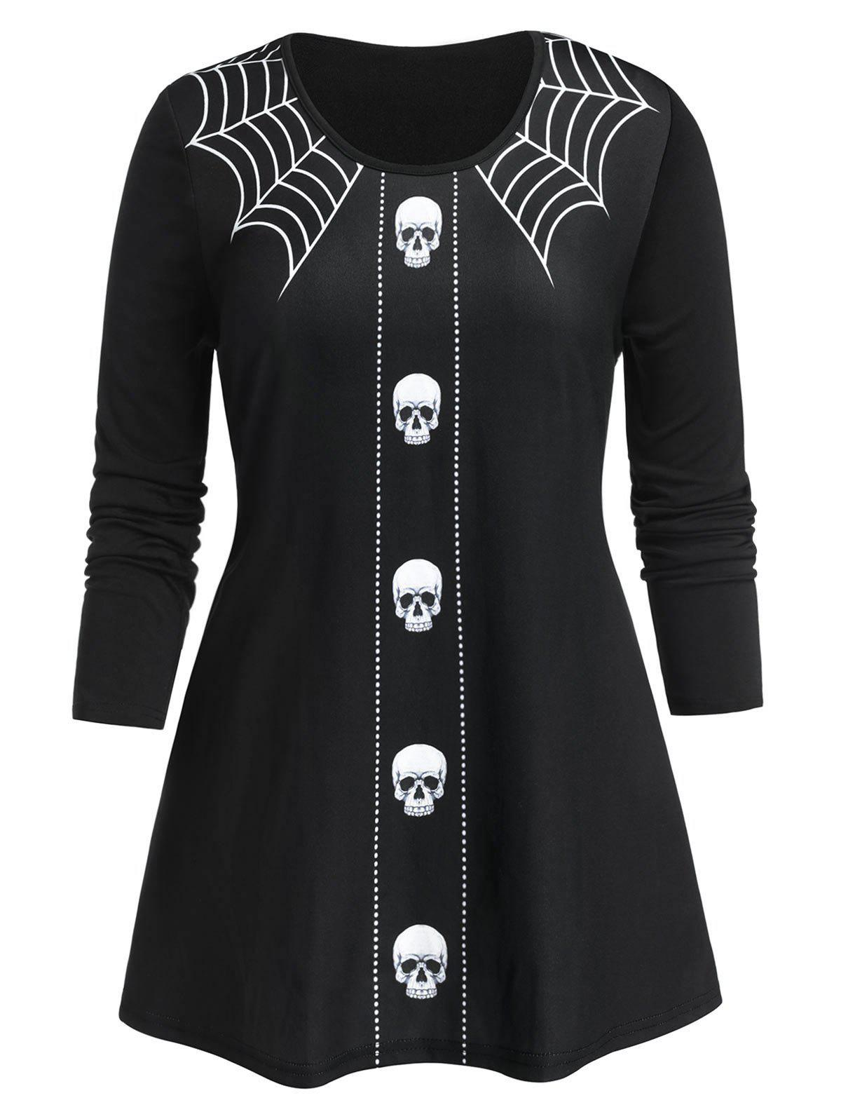 Plus Size Halloween Skull Spider Web Long Sleeve Tee - BLACK L