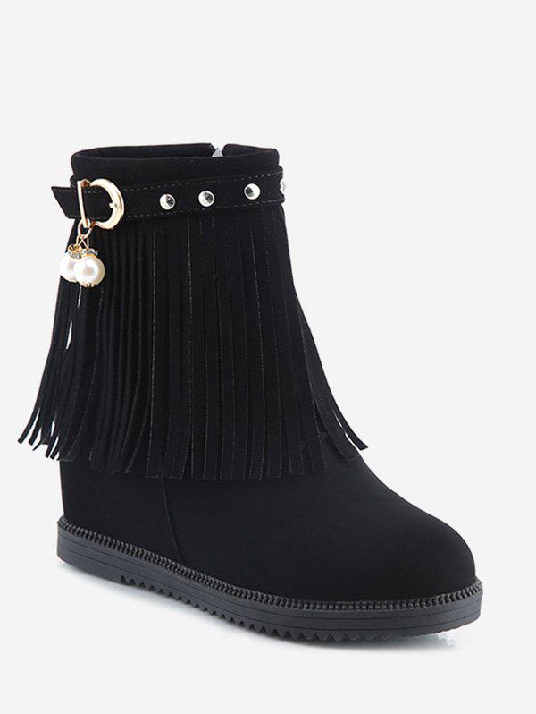 Hidden Heel Fringed Stud Strap Short Boots - BLACK EU 38