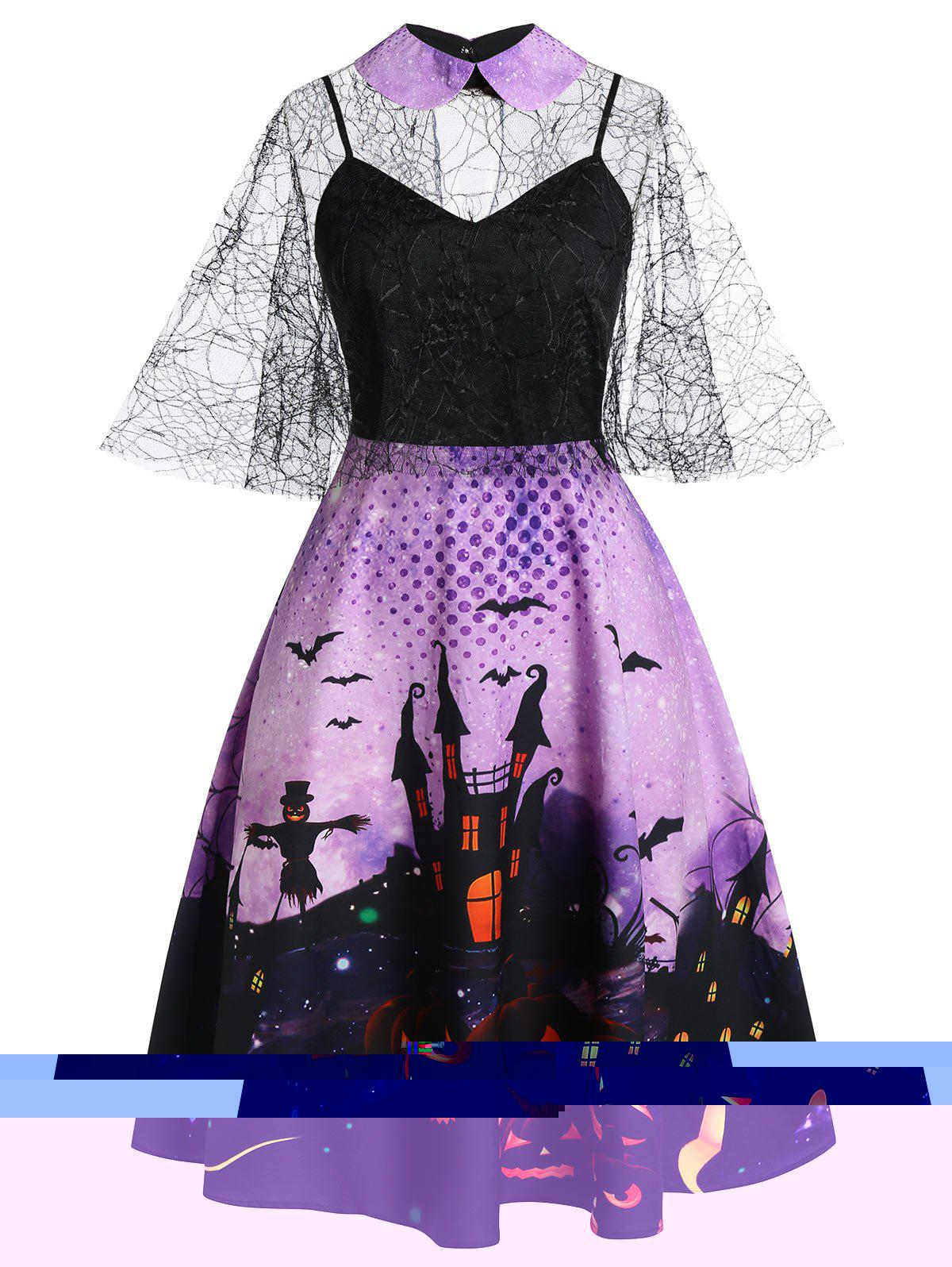 Plus Size Halloween Mesh Spider Web Bat Print Dress Set - PURPLE IRIS L