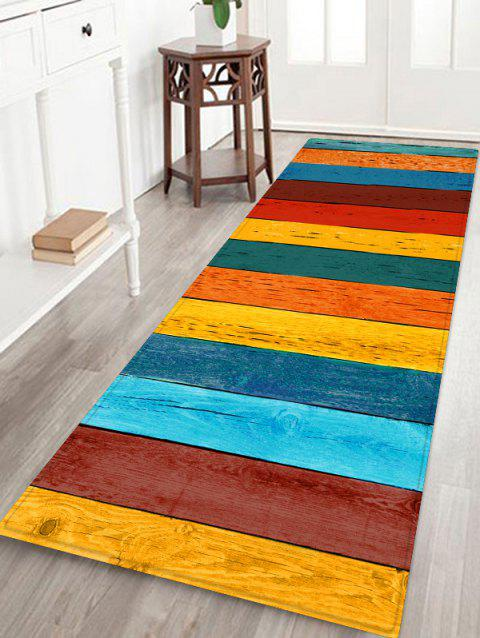 Colorful Wooden Printed Floor Rug - CORN YELLOW W16 X L47 INCH