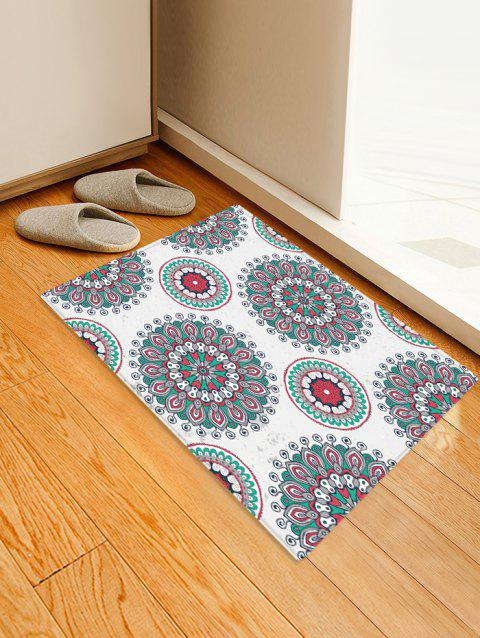 Bohemian Floral Printed Floor Rug - COOL WHITE W16 X L24 INCH