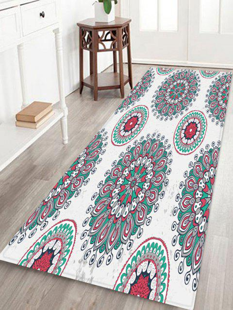 Bohemian Floral Printed Floor Rug - COOL WHITE W24 X L71 INCH