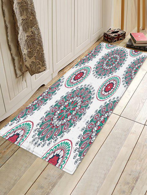 Bohemian Floral Printed Floor Rug - COOL WHITE W16 X L47 INCH