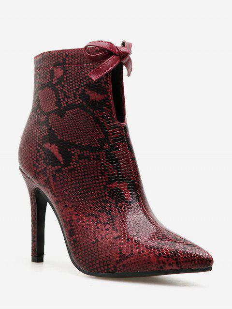Bow Snakeskin Print Pointed Toe Ankle Boots - CHESTNUT RED EU 37