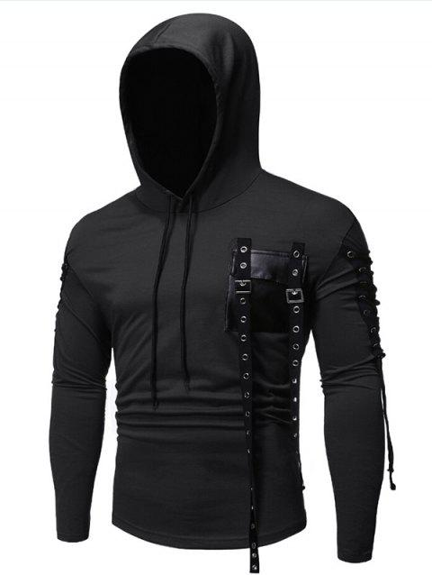 Gothic Grommet Lace Up Sleeve PU Chest Hoodie