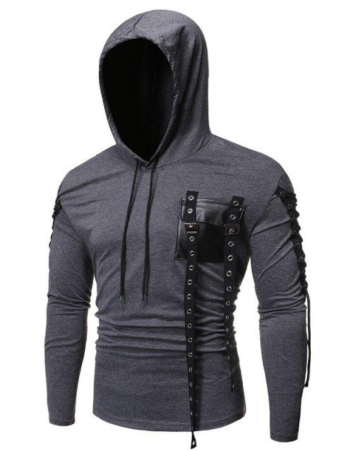 Gothic Grommet Lace Up Sleeve PU Chest Hoodie - LIGHT GRAY 2XL