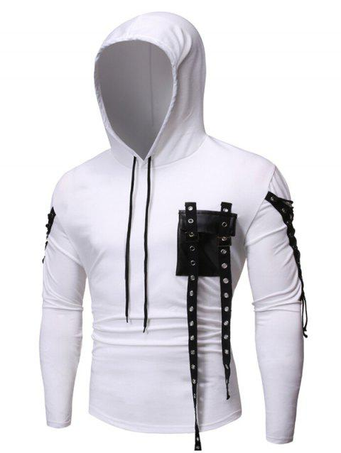 Gothic Grommet Lace Up Sleeve PU Chest Hoodie - WHITE 2XL