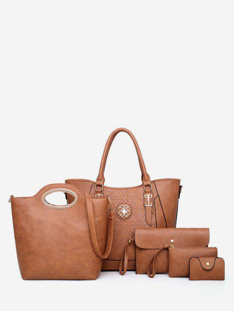 5Pcs Casual Tote Bag Set - CAMEL BROWN