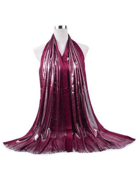 Tassel Cotton Gold Silk Solid Long Scarf - RED WINE