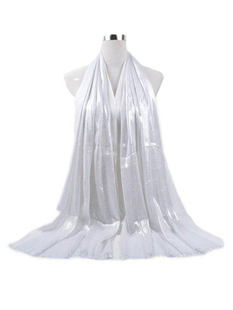Tassel Cotton Gold Silk Solid Long Scarf - WHITE