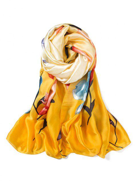 Beach Flower Print Long Large Scarf - YELLOW