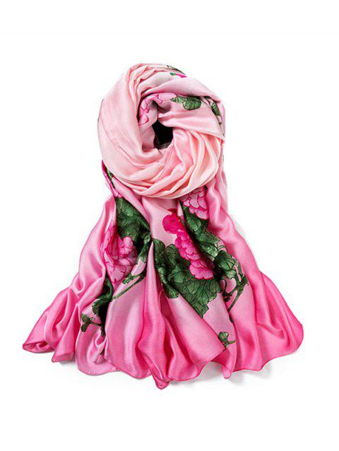 Beach Thin Flower Print Long Large Scarf - ROSE RED