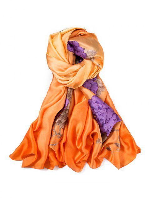 Beach Thin Flower Print Long Large Scarf - GOLDEN BROWN