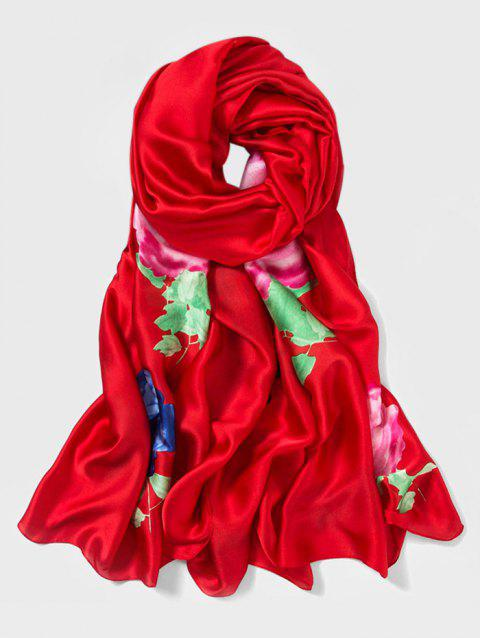 Chinese Style Peony Print Long Large Scarf - RED