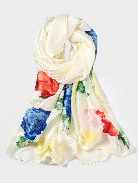 Chinese Style Peony Print Long Large Scarf - BEIGE