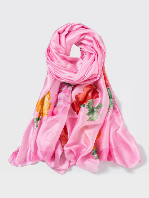 Chinese Style Peony Print Long Large Scarf - PINK