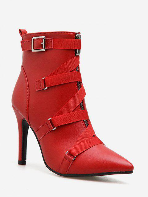 Strap Accent PU Leather Pointed Toe Boots - CHESTNUT RED EU 35