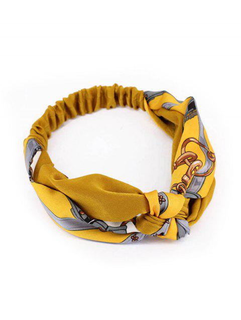 Cross Knot Design Chain Print Elastic Head Band - YELLOW