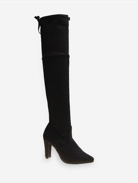 Chunky Heel Thigh High Suede Boots - BLACK EU 40