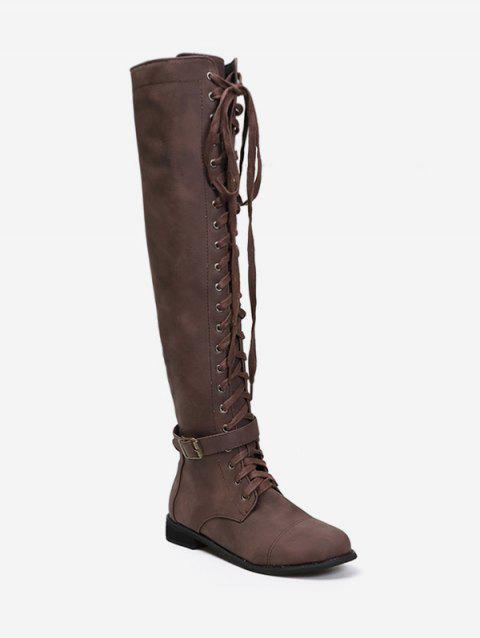 Lace Up Buckle Accent Thigh High Boots - COFFEE EU 43