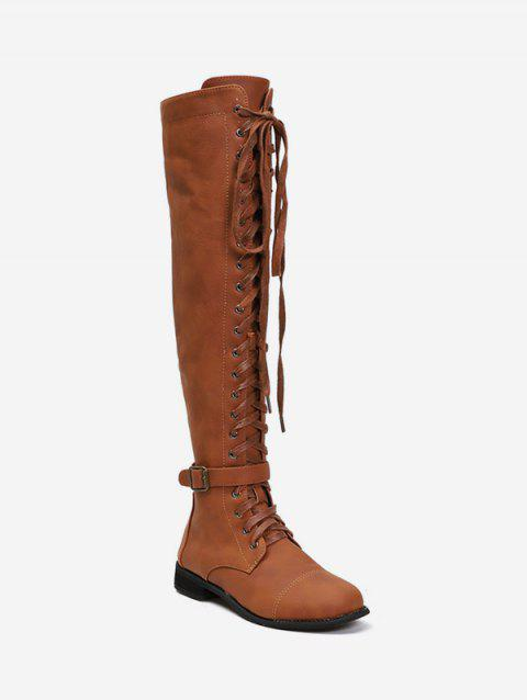 Lace Up Buckle Accent Thigh High Boots - BROWN EU 37