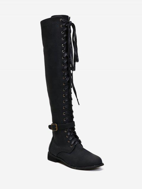 Lace Up Buckle Accent Thigh High Boots - BLACK EU 35
