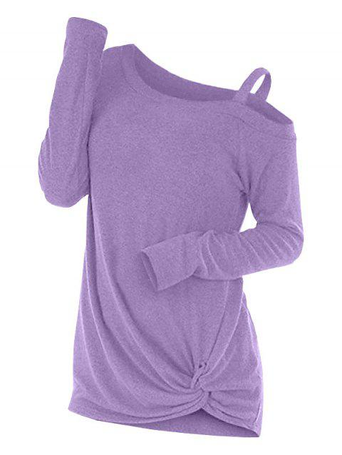 Knotted Cut Out Sweater - CROCUS PURPLE XL
