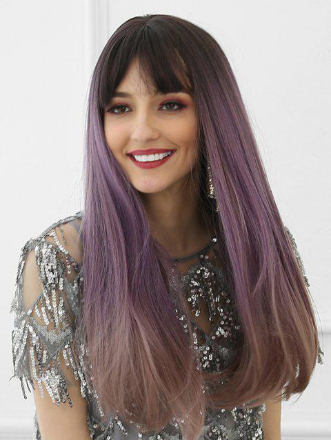 Neat Bang Long Ombre Long Synthetic Wig - multicolor