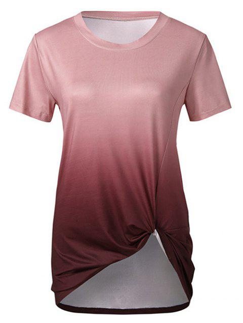 Twisted Front Ombre Longline Tee - RED WINE XL