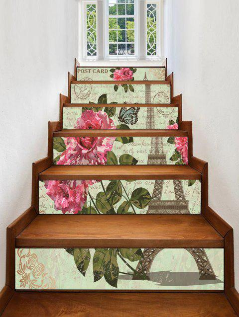 Eiffel Tower Flower Printed Removable Stair Stickers - multicolor A 6PCS X 39 X 7 INCH( NO FRAME )
