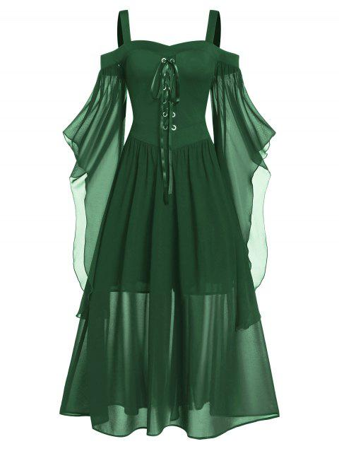 Plus Size Cold Shoulder Butterfly Sleeve Lace Up Halloween Dress - MEDIUM SEA GREEN 5X