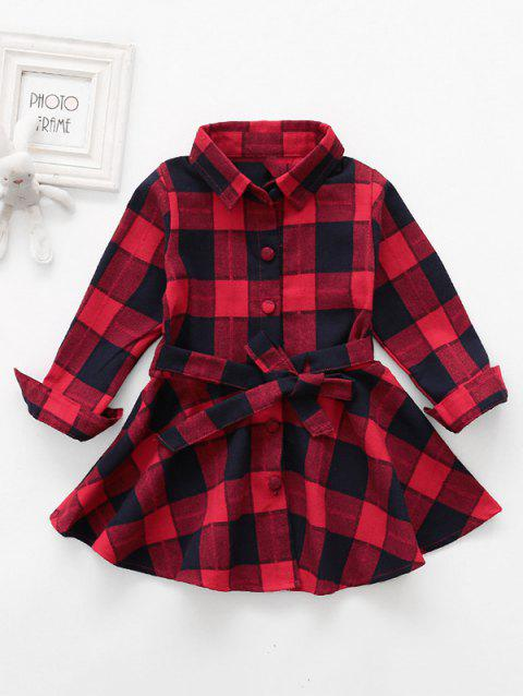 Girls Tartan Print Button Up Belted Long Sleeve Dress - ROSSO RED 90