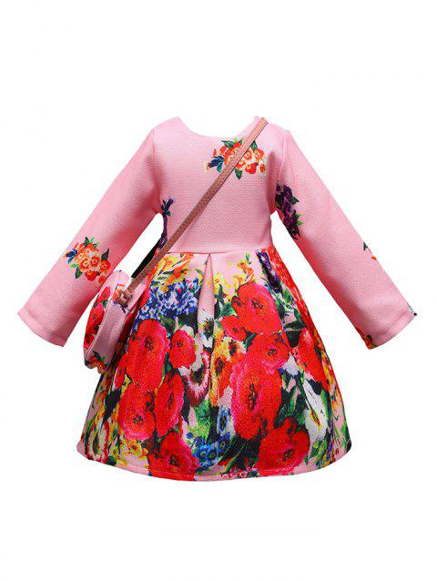 Girls Floral Print Mini Vintage Dress with Crossbody Bag - PINK 110