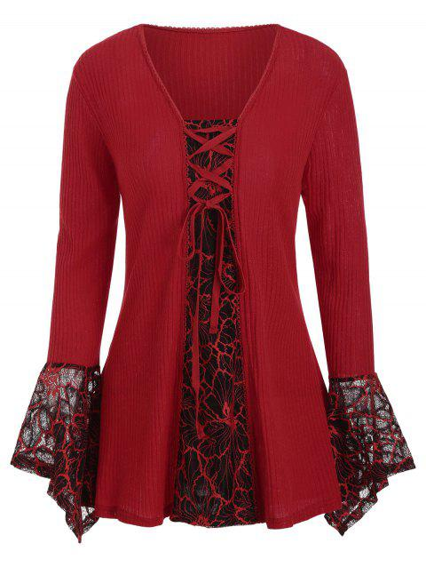 Picot Trim Lace Panel Lace-up Plus Size Knitwear - RED 3X