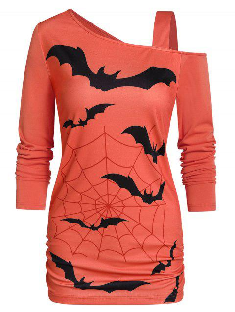 Skew Collar Tunic Bat Print T Shirt - PUMPKIN ORANGE L