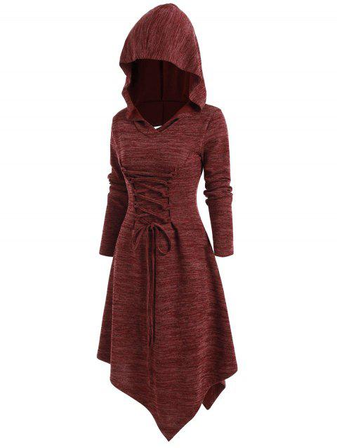 Lace Up Heathered Asymmetric Hooded Dress - RED WINE M