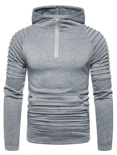 Pleated Trim Front Pocket Raglan Sleeve Hoodie - LIGHT GRAY 3XL