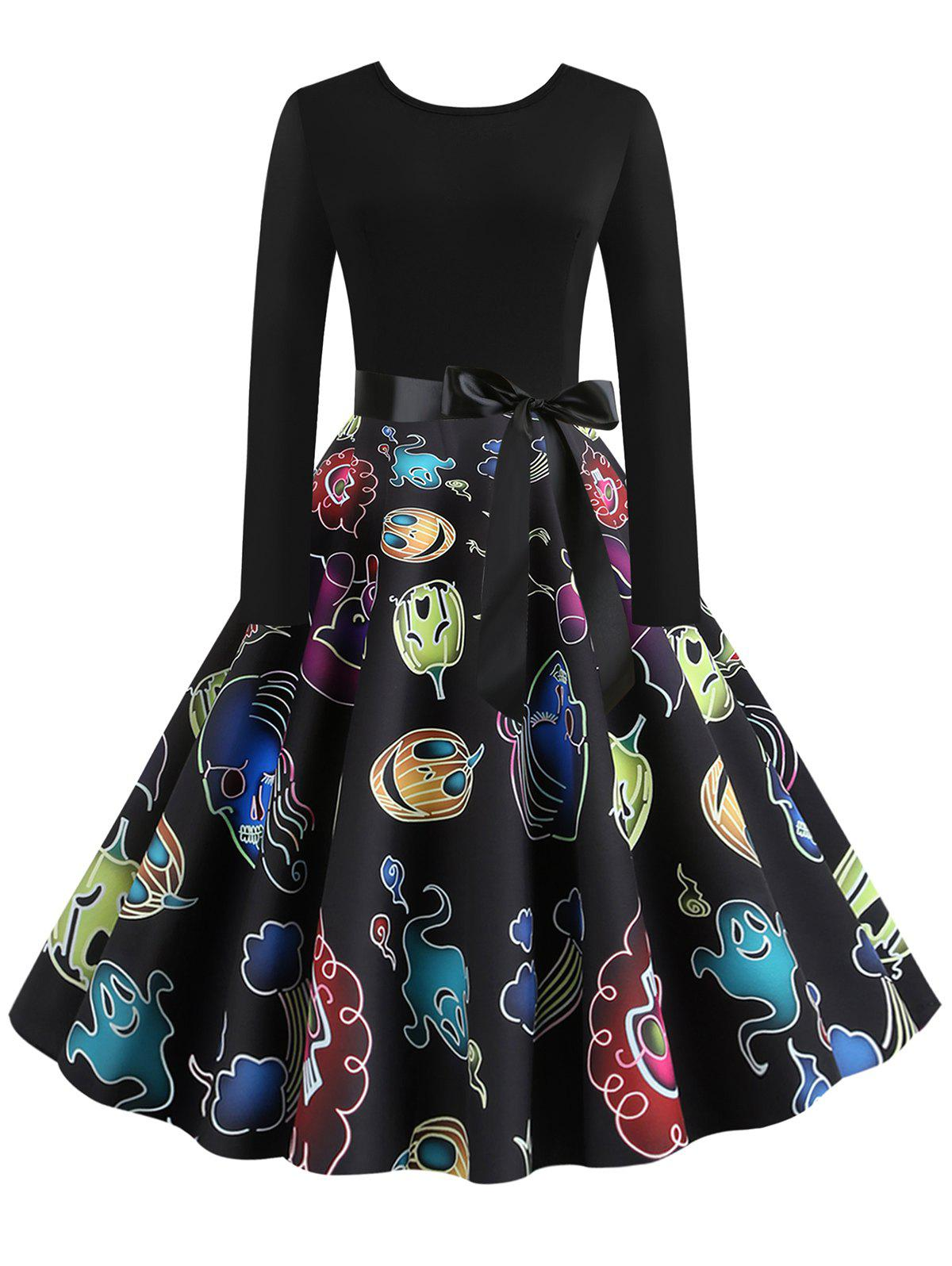 Pumpkin Bat Ghost Print Belted Halloween Dress - BLACK XL