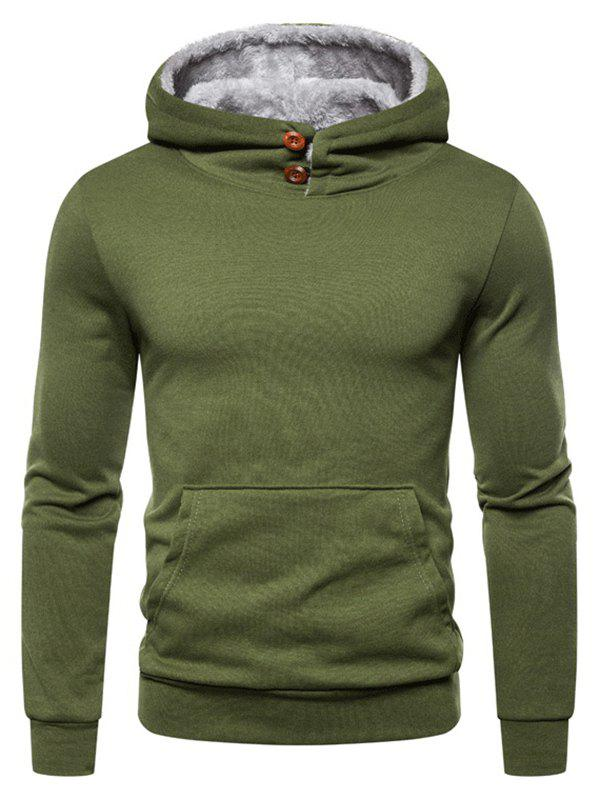 Button Kangaroo Pocket Fleece Hoodie - ARMY GREEN 3XL