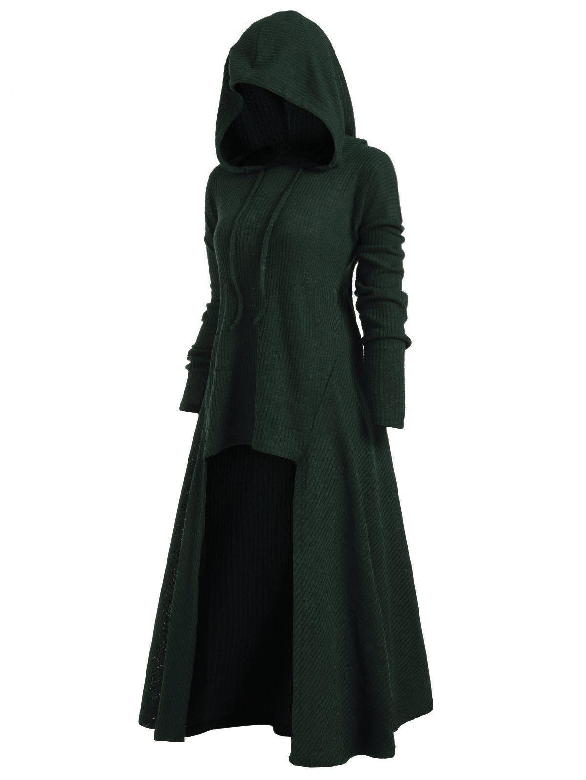 Hooded High Low Drop Shoulder Longline Sweater - DARK FOREST GREEN S